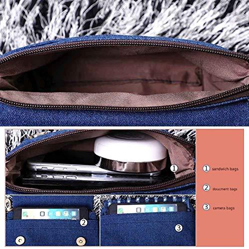 Cm De A Bolsa Las Tela Mujeres 6 Diario Diagonal Bolso Lienzo Lxiangp Multifunción Uso Moda Cm Mano Bandolera Pequeño 18 15 Mezclilla EqT0f