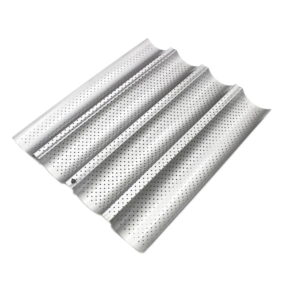 perfectshow Four-Slot Non-Stick Perforated Baguette Pan Wavy French Bread Pan U-Shape Baking