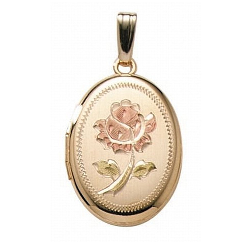 PicturesOnGold.com 14K Gold Filled Rose Oval Locket 3/4 Inch X 1 Inch with Engraving