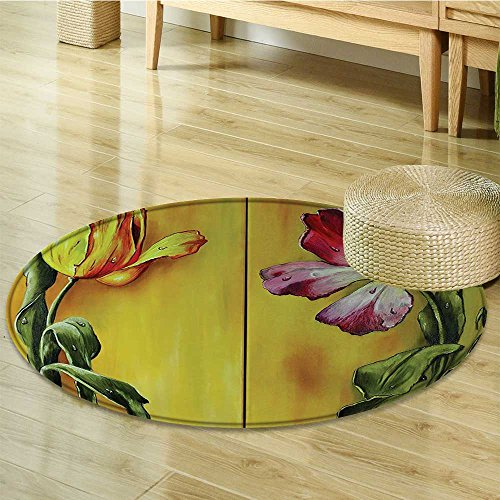 Small Round Rug Carpet Curving Elegant Tulips Romantic Dramatic Naive FlowerArt Door mat Indoors Bathroom Mats Non Slip-Round 51