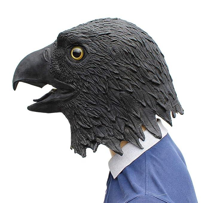 XIAOMAN Máscara de cabeza de águila negra Máscara de látex realista Cosplay de disfraces de Halloween Fiesta de Navidad Juegos de rol Juguetes (Color ...