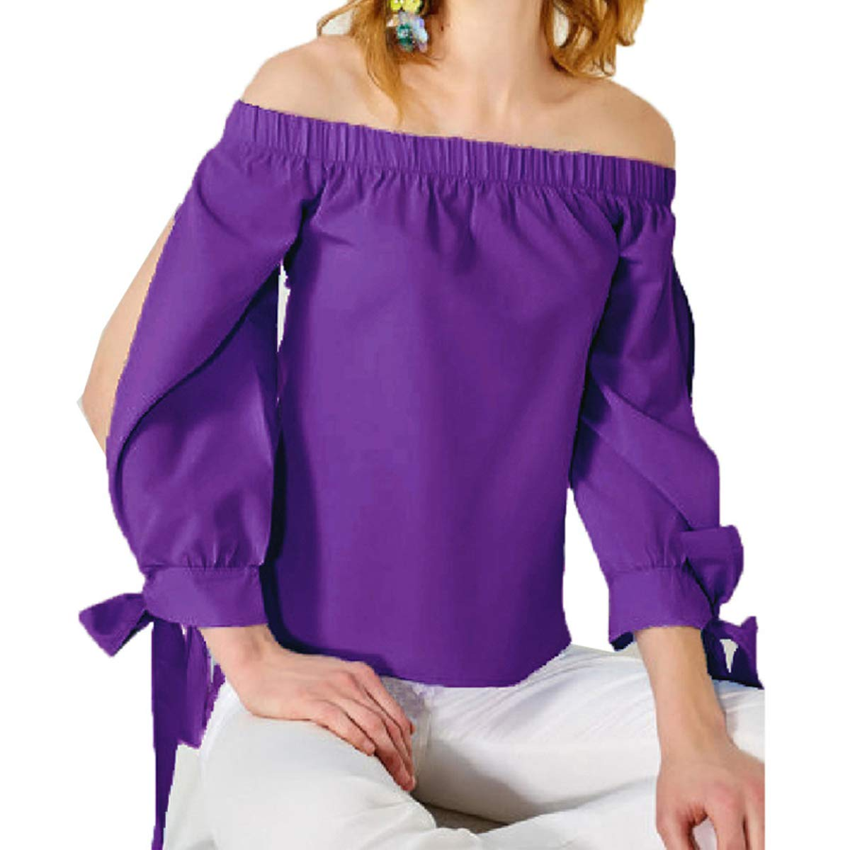 Purple Off Shoulder Hollow Out Solid Tunic Shirt Long Sleeve Casual Women's Blouse