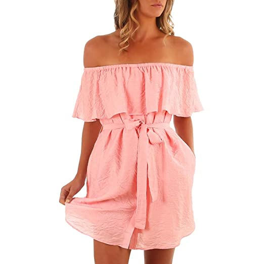 66eb683ba0f Women s Sexy Ruffles Off Shoulder Boho Beach Wrap Short Mini Dress Sundress  with Belt (Pink