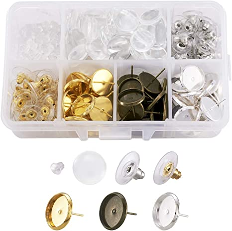 25 pairs plastic gold plated butterfly earring backs 11x6mm