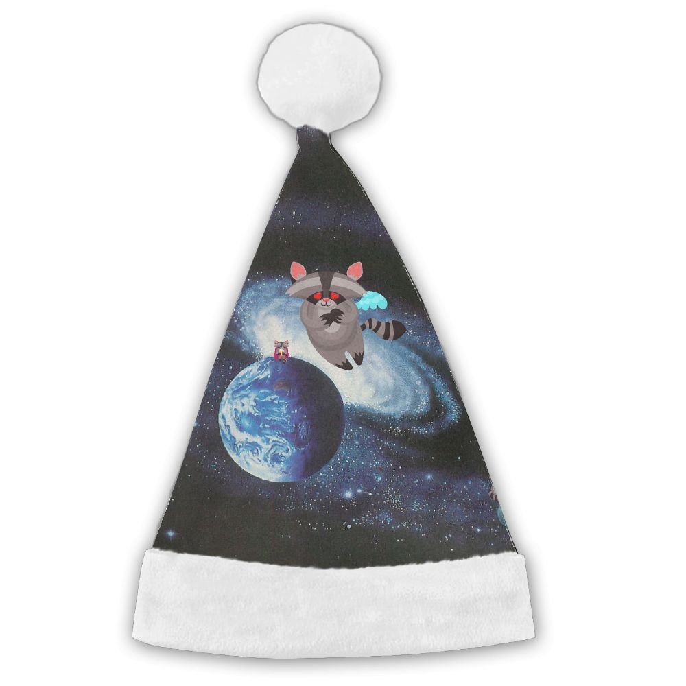 Raccoon Flying On The Galaxy Christmas Hat Velvet Santa Claus Hat S Size For Kid,M Size For Adult