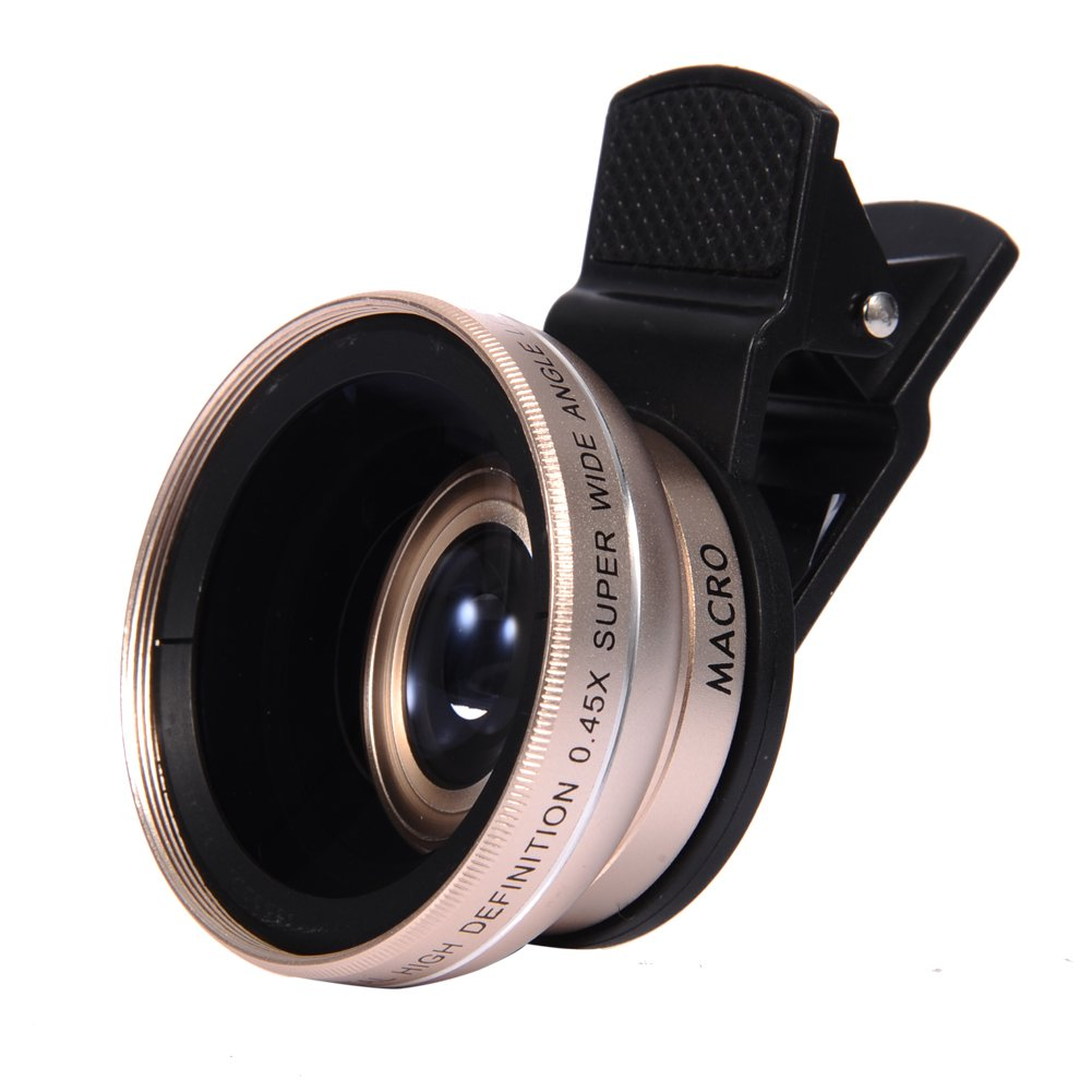 Apexel HD Camera Lens,0.45x Super Wide Angle 12.5x Macro Lens Universal Professional Clip-on Cellphone Lens Kits for iPhone Android Samsung Xiaomi