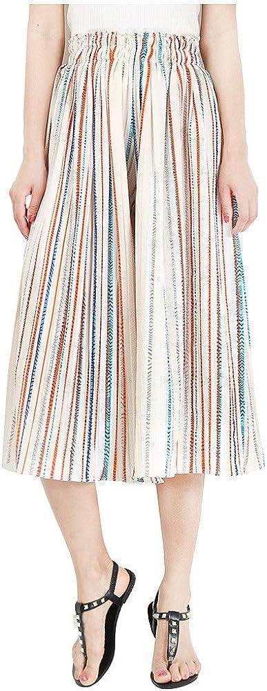 FeelMeStyle Women High Waist Loose Pants Elastic Waist Stripe Chiffon Wide Leg Pants