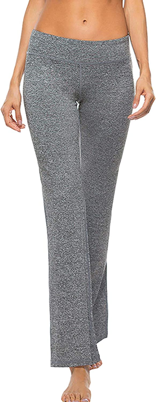 Lisli Women Bootcut Yoga Pants Foldover Tummy Control Training Running Pants