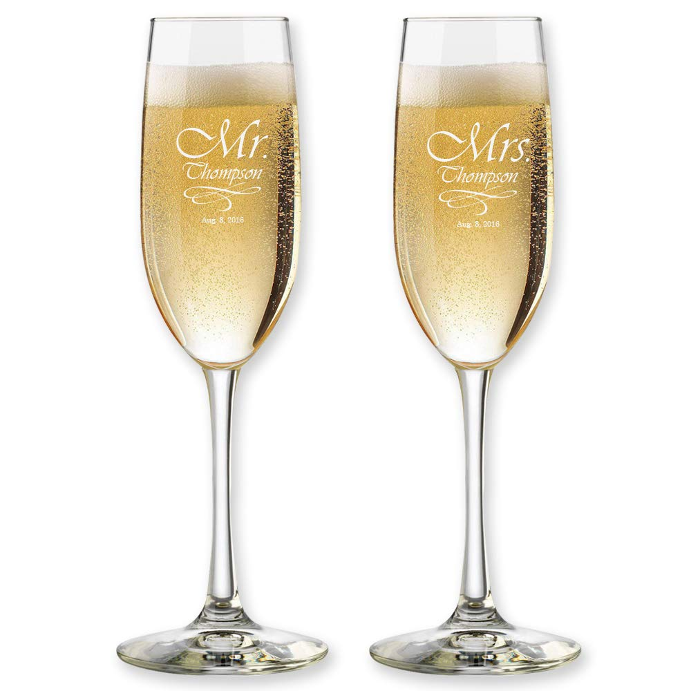 Set of 2, Personalized Wedding Toast Champagne Flutes - Mr. Mrs. Date & Last Name Champagne Wedding Glasses - Customized Flutes for Bride and Groom Gift for Wedding by Froolu (Image #1)