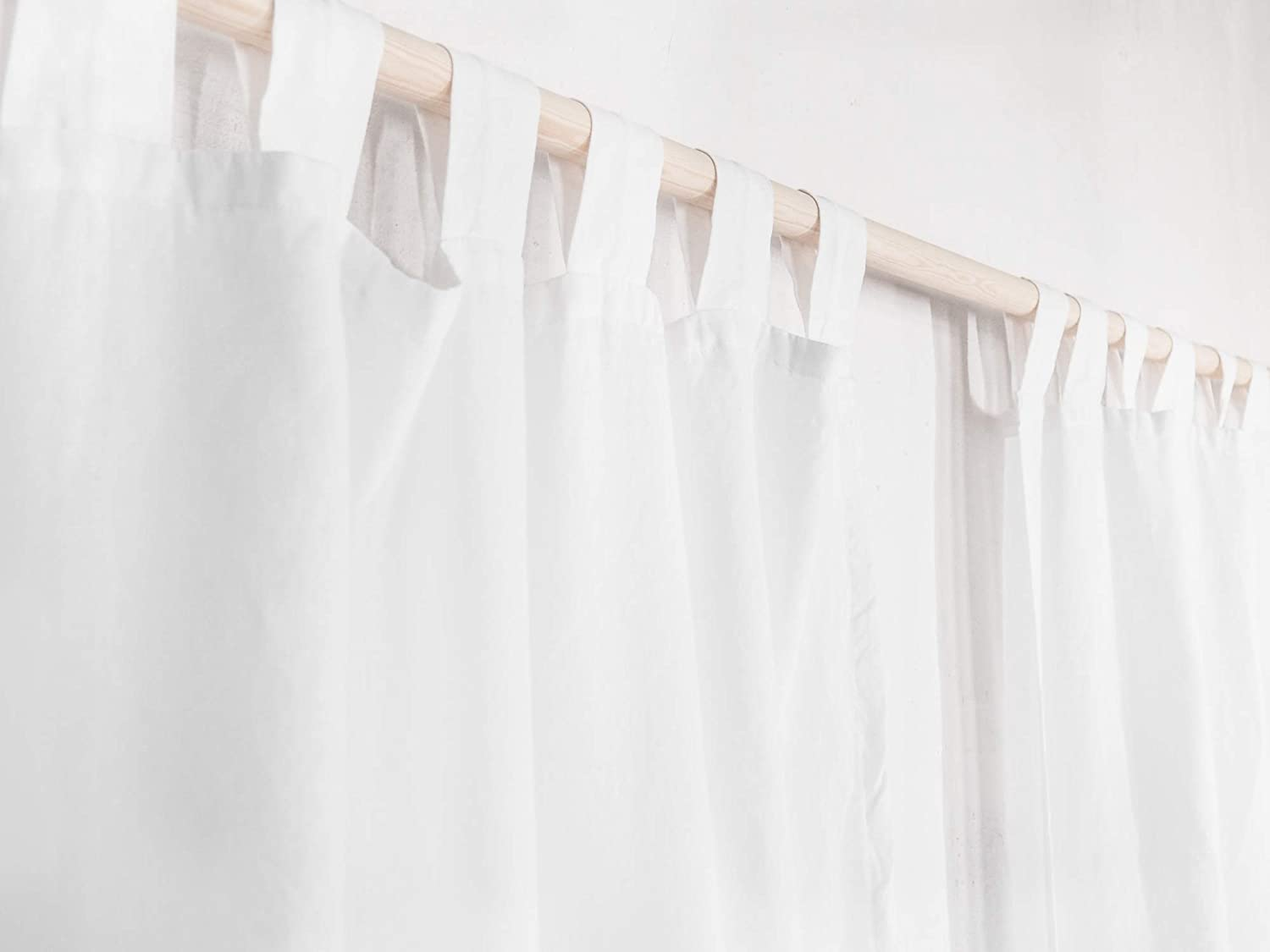 Amazon.com: Tab Top Linen Curtain Panel/WHITE / homey style/linen