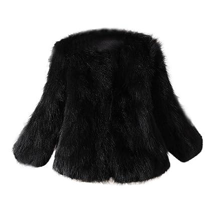 Kstare Women Warm Fashion Faux Fur Soft Fur Coat Jacket Fluffy Winter  Waistcoat Outerwear (Black 536f21d19
