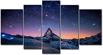 Amazon Com 5 Piece Starry Night Sky Wall Art Purple Star Skyline Over The Mountain Painting Prints On Canvas The Picture Landscape Artwork For Home Modern Decoration Print Decor For Living Room Posters