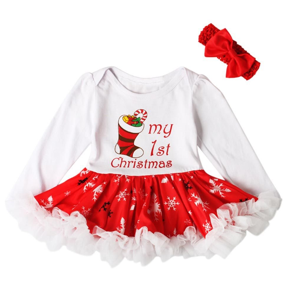 ESHOO Baby Girls My First Christmas Outfits Tutu Princess Romper Maching with Headband