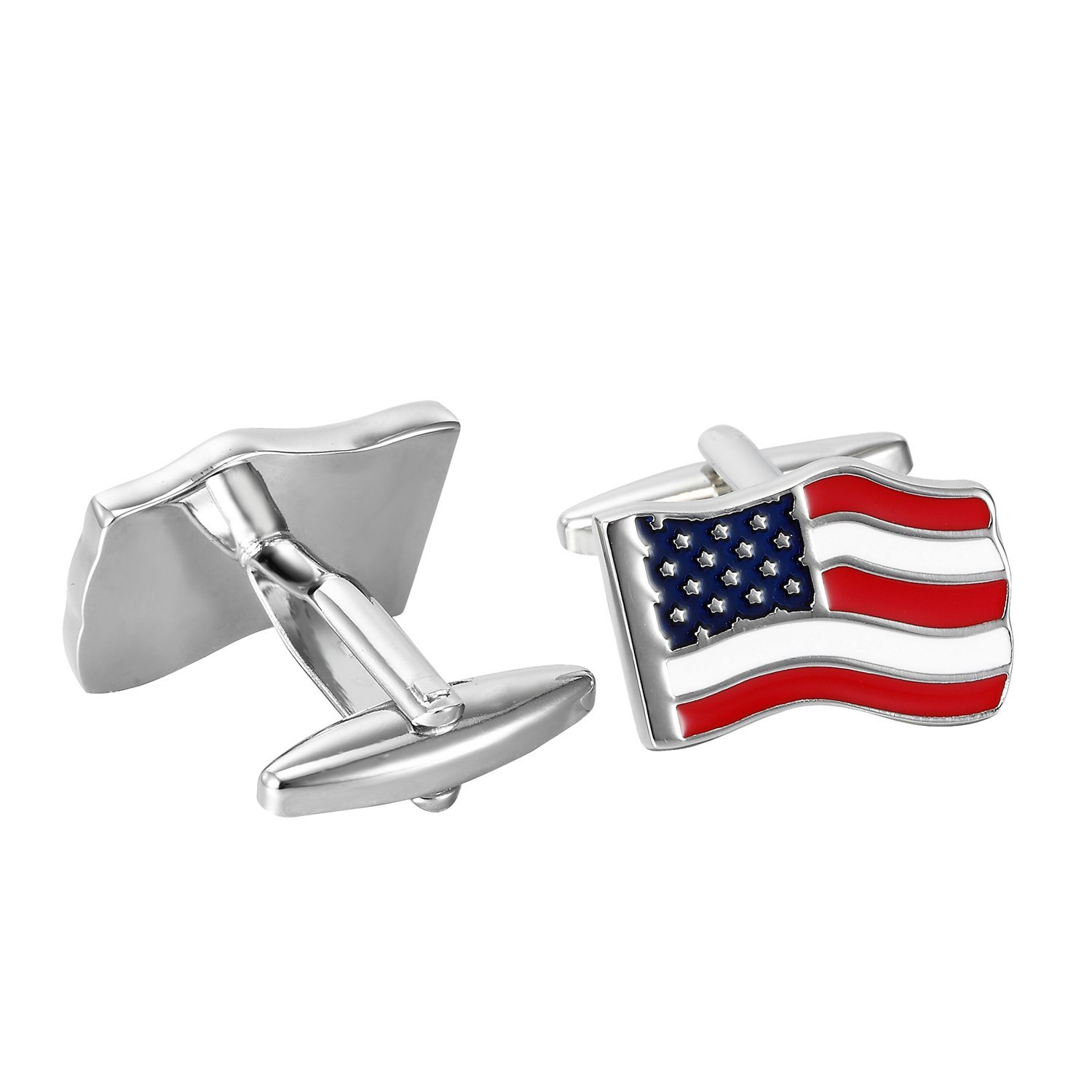 Urban Jewelry Loyal Patriot Stainless Steel USA Flag Men's Cufflinks (Red, Blue, White, Silver) by Urban Jewelry (Image #4)