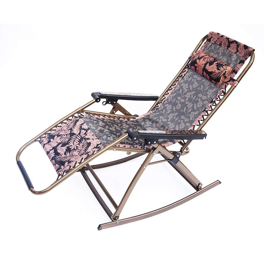 JDGK - ラウンジチェア 折りたたみ椅子ロッキングチェア昼休み高級レジャーラウンジチェア青天リクライニングチェア屋外リクライニングチェアラウンジチェア - 8974 B07T2G5149