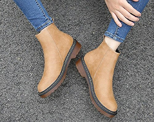 Heel Leather Zipper Elastic Low JiYe Band Velvet Zipper Ankle Women's Shoes With Boots yellow 4qyywE06