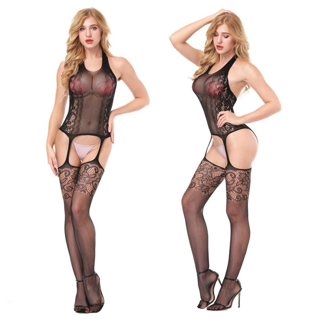 e4147ca12 Amazon.com  Gaweb Adult Women Halter Backless Sexy Lace See-Through Lace  Fishnet Open Crotch Bodystocking Sexy Lingerie  Clothing