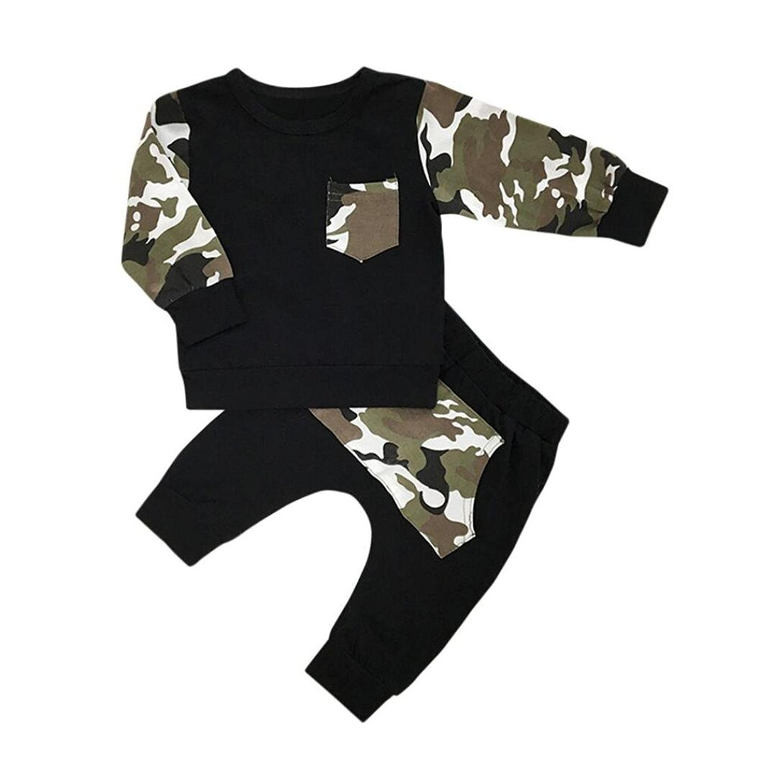 Webla Toddler Baby Boy Tracksuits T Shirt Tops+Pants Camouflage Clothes Set Ages 0-24 Months 0-6 Month