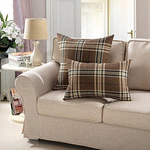 MochoHome Cotton/Linen Blend Decorative Rectangular Checkere