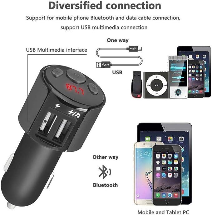 Transmetteur FM Bluetooth USB Rameng Kit de Voiture Mains Libres sans Fil Adaptateur Radio /Écran dAffichage 1,5