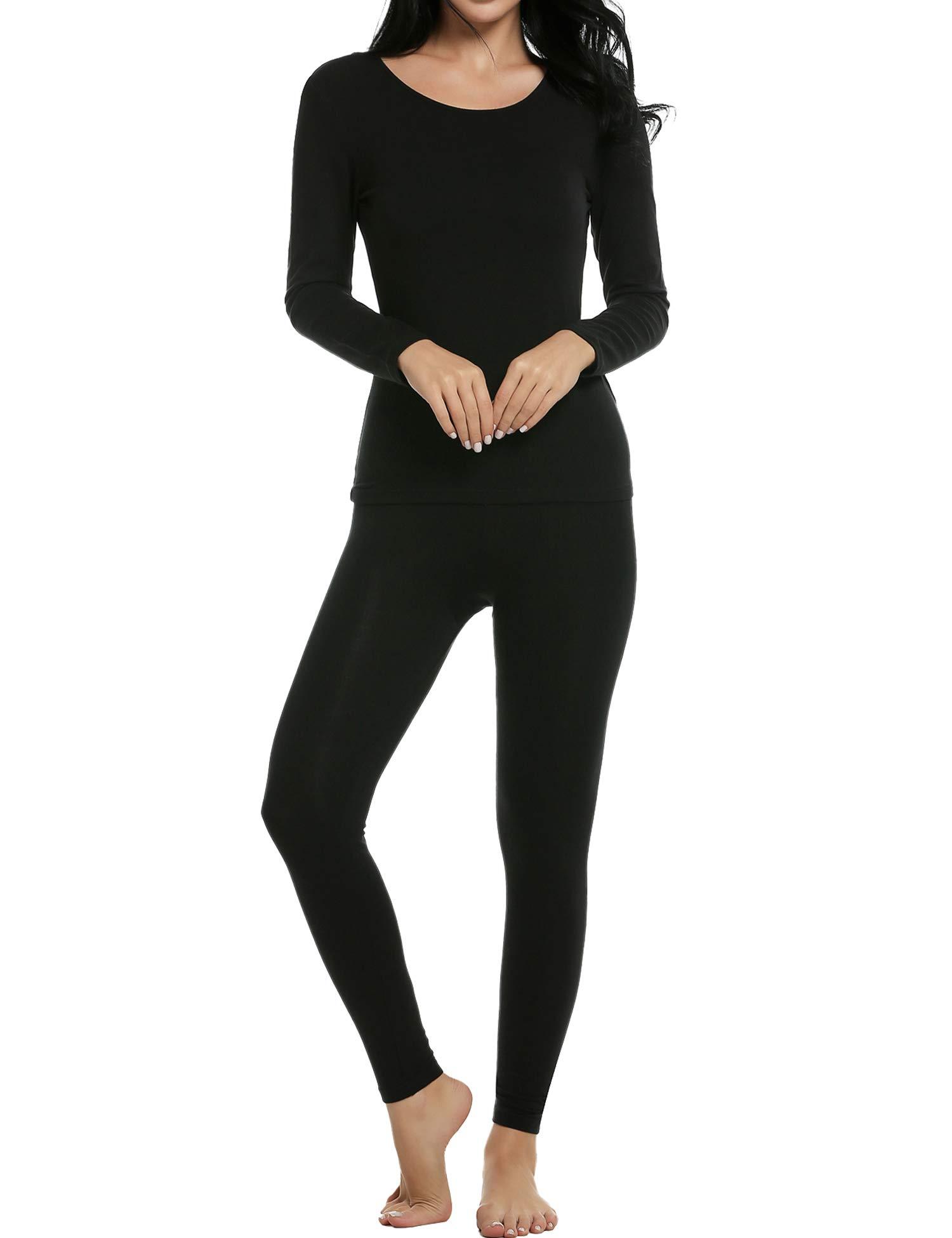 bec6d8e39027f Ekouaer Thermal Underwear Women s Soft Long John Winter Base Layer Slimming  Sleepwear PJs Set S-
