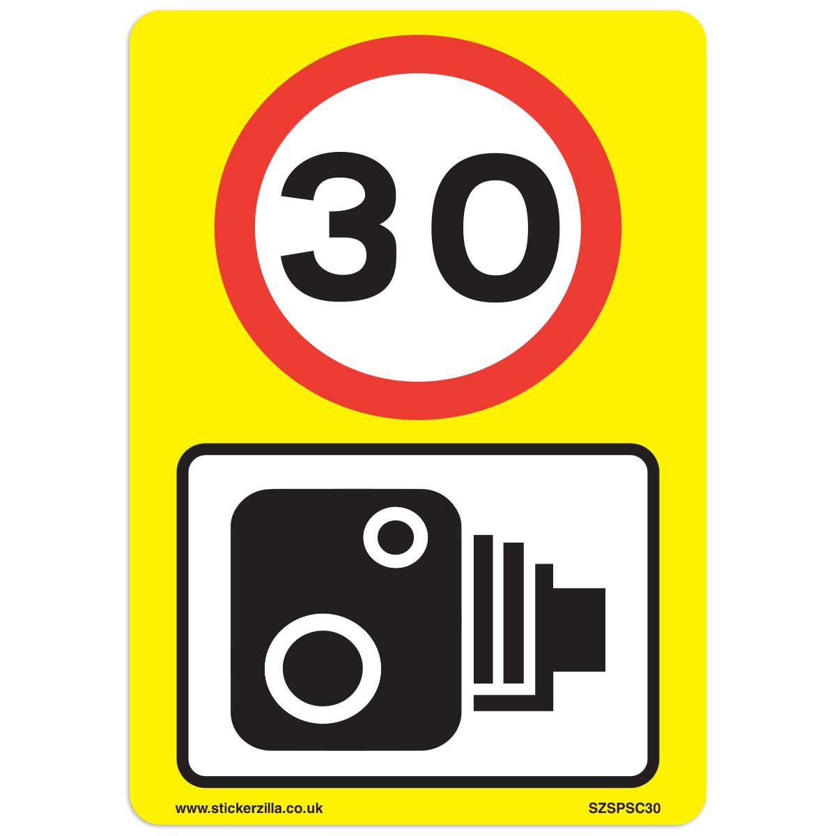 30 Mph & Speed Camera Signs [3 X Pack] - A4 Vinyl Stickers, Yellow Background Ideal For Wheelie Bins Stickerzilla