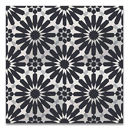 Moroccan Mosaic & Tile House CTP54-05 Alhambra 8''x8'' Handmade Cement Black and Whilte (Pack of 12), WhiteBlackGray -