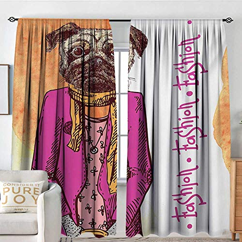 Petpany Blackout Curtains Pug,Fashion Icon Dog with Cool Clothes Scarf Necklace Jacket Handbag Tainted Background,Hot Pink Amber,Rod Pocket Curtain Panels for Bedroom & Kitchen 54
