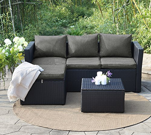 View & co Patio Furniture 3 PCS Outdoor Sectional Furniture Set P.E Rattan Conversation Sets With Matching Waterproof Patio Cushions and Coffee Table & Necessary Tools (3 Set- Black and Dark gray) (Pvc Outdoor Furniture)