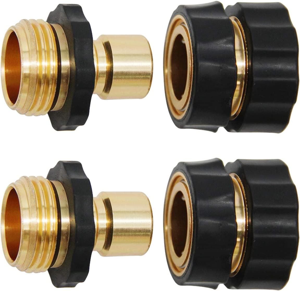 Lifynste 3/4 Inch Garden Hose Quick Connector Fittings, Brass Easy Connector Fitting, Male and Female Set, 2 Sets