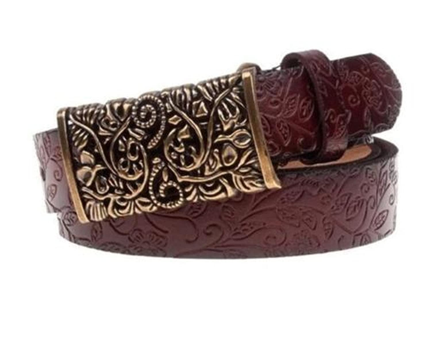 GUAngqi Leather Belts Floral Pattern Nostalgic Classic Waistband Belts