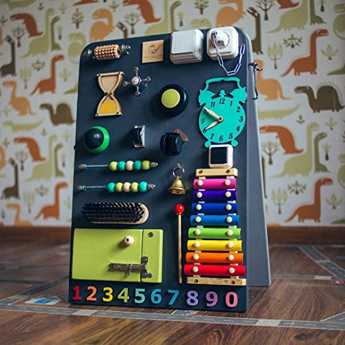 Shafa-13 European quality. Handmade Wooden Busy board, Clever Puzzles, Locks and Latches Activity Board (grey) by MebliLine