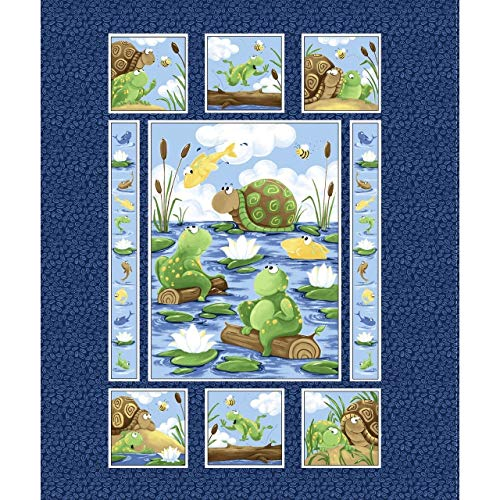 "Paul and Sheldon~Frog andTurtle Panel 35"" x 44"" Cotton Fabric by World of Susybee"