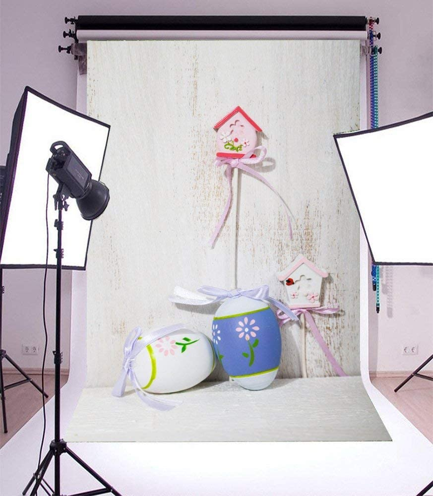 6x8ft Polyester Photography Backdrop Happy Easter Theme Art Color Eggs on Green Grass with Flowers Scene Photo Background Children Baby Adults Portraits Backdrop