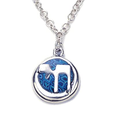 ae031e2fc83d 925 Sterling Silver Men s Hai Hebrew Necklace Blue Polymer Clay Handmade  Jewellery