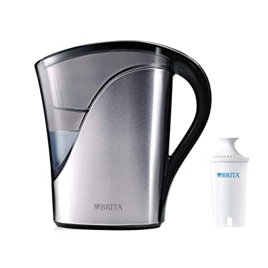 Brita Medium 8 Cup Water Filter Pitcher with 1 Standard Filter, BPA Free – Stainless Steel