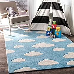 "nuLOOM Contemporary Nursery Cloud Kids Area Rugs, 3' 6"" x 5' 6"", Blue"