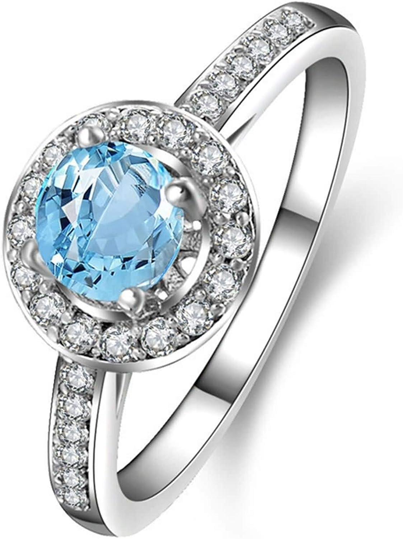 Blisfille Joyas Anillos Compromiso Plata Anillo de Round Anillo Mujer Oro Diamante Anillo de Plata de Ley 925,Plata del Tamaño 25: Amazon.es: Joyería