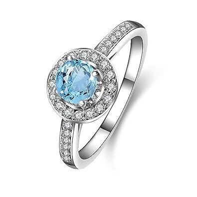 vente en ligne design intemporel nouvelle arrivee Coniea Bague Femme 925 Bague Topaze Bleue Ronde Anneau Femme ...