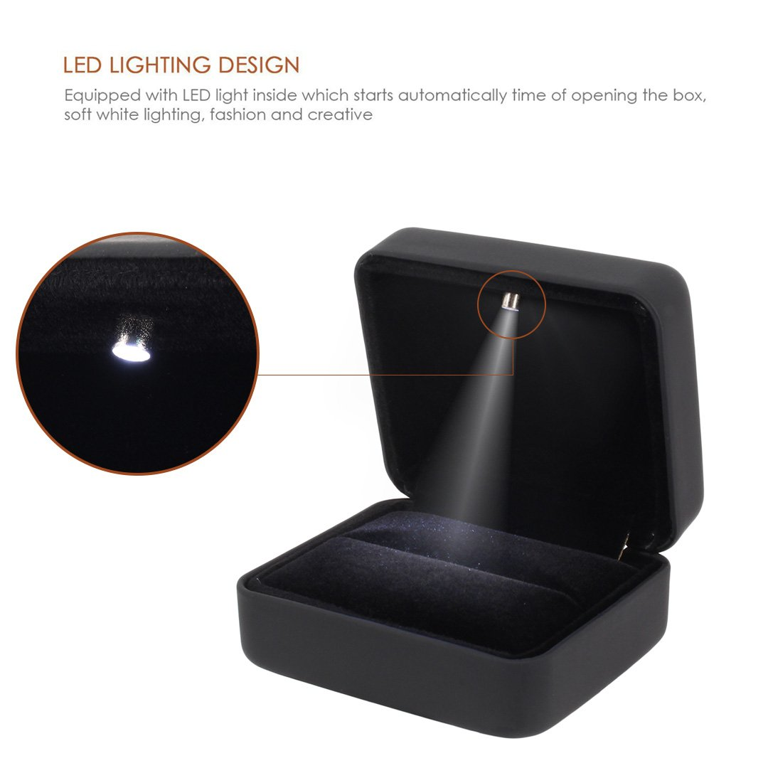 Naimo Velvet Engagement Ring LED Light Jewelry Gift Box (Black) by Naimo (Image #3)