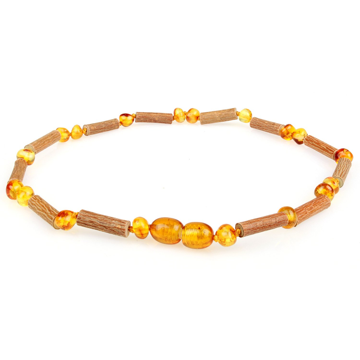 Amber & Hazelwood Necklace (Unisex, Cognac Color, 12.5 Inches), Lab-Tested, 100% Certified, Individually Knotted for Babies & Toddlers. Natural Pain Relief for Eczema, Colic, Reflux & Teething