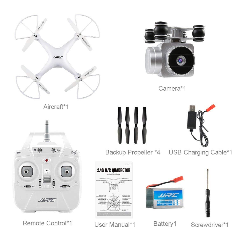 Harlls JJRC H68 Quadcopter Hubschrauber Echtzeit Übertragen FPV 200W Kamera Höhenstand Sechsachsen 4CH WiFi APP Control RC Drohne - Weiß