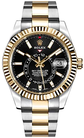 9d7dc954555 Amazon.com  Luxury Rolex Sky-Dweller Black Dial Gold   Steel Mens ...