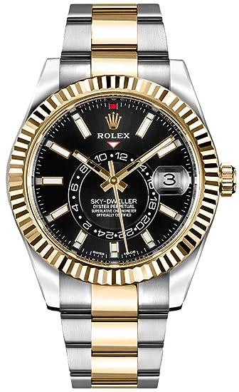 Lujo Rolex sky-dweller negro Dial Oro y Acero Mens Reloj – Referencia: 326933