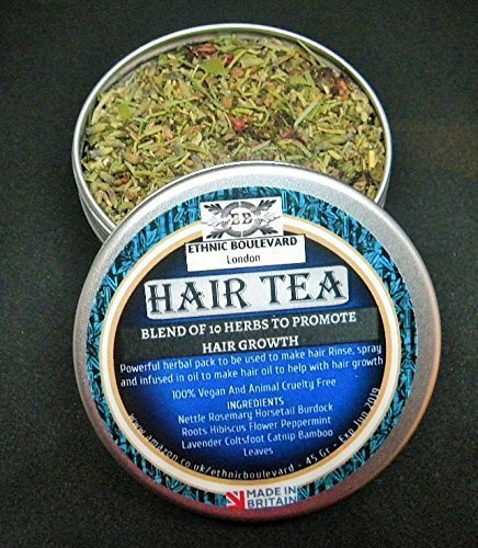 HAIR TEA - HERBAL TEA RINSE WITH A BLEND OF 10 HERBS TO PROMOTE HAIR GROWTH - Herbal hair Vitamins- Deep conditioner For Hair Growth - Herbal conditioner -Vegan Hair Conditioner - Afro and Caucasian Hair treatment -Can be used to make herbal APPLE CIDER VI
