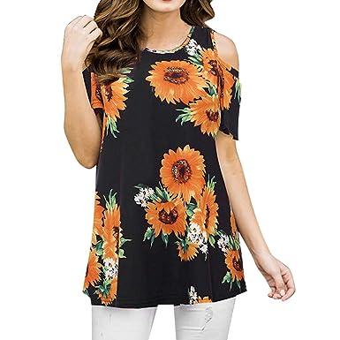 e85918fbc0a AOJIAN Women s T Shirt Short Sleeve Shirts Off Shoulder Flower Print ...