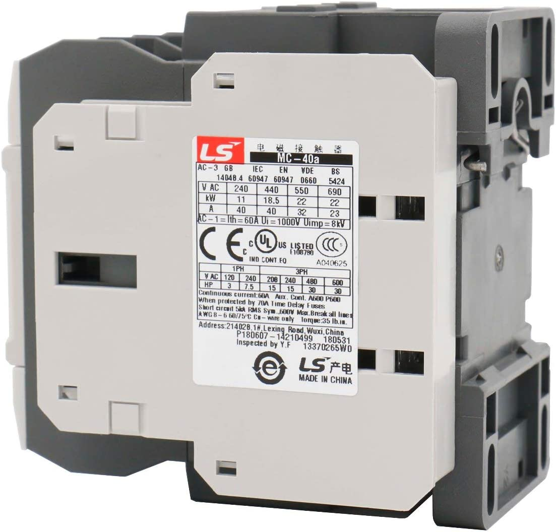 MC-40A contactor 120V 40A Direct Replacement for LS IS MC 3P AC contactor MC-40a