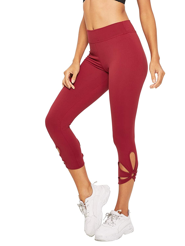 Burgundy SweatyRocks Women's Leggings Active Tight Workout Yoga Slim Fitness Pants