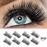 #10: LEDitBe Magnetic False Eyelashes, 3D Black Dual Magnetic, Ultra Thick Ultra Solf And Long for Entire Eyes, Glamorous, Natural Look, Handmade Reusable Eyelashes (Black) 1 Pair/8Pcs
