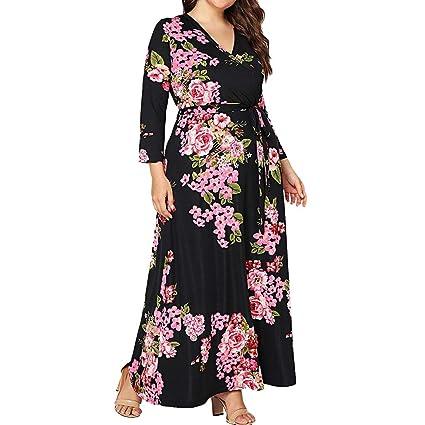 ღLILICATღ Vestido Largo Floral Print Casual para Noche Fiesta ...
